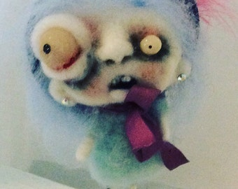 Bella the blue haired zombie Ooak   art doll