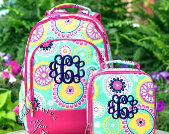 Gift Set of 2 - Monogrammed Backpack and Lunchbox in Piper Pattern, Girls School Bookbag Set, Personalized School Bags for Girls