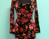 Vintage Betsey Johnson Velvet Floral Dress and Jacket
