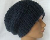 Slouch Knit Hat Alpaca Blue Men Women Beanie
