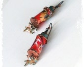 Hold for Charline - Fun pigs with wings earrings - When Pigs Fly earrings - Boho earrings - Rustic bohemian earrings - Paper bead earrings
