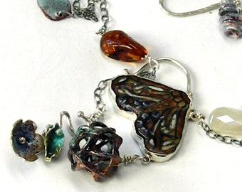 Long Lariat Necklace, Moth Necklace, Gypsy Necklace, Long Y Necklace, Butterfly Necklace, Porcelain,Layering Necklace, Contemporary Enamel