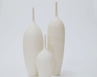 MADE TO ORDER-  3 large white ceramic pottery vases teardrop shaped white matte stoneware vessels by sarapaloma .  white on white vase