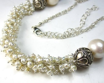 VDAY SALE Pretty in White Necklace - Freshwater Pearl and Bali SIlver