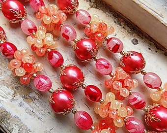 FREE SHIPPING Vintage Raspberry Beaded Long Necklace 1950s 1960s