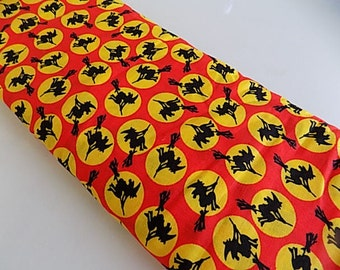 Vintage Cotton Halloween Witch and Moon Fabric Yardage - 4 yards