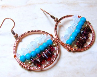 Red White and Blue - Garnet, Turquoise, and Moonstone Hammered Copper Hoop Earrings