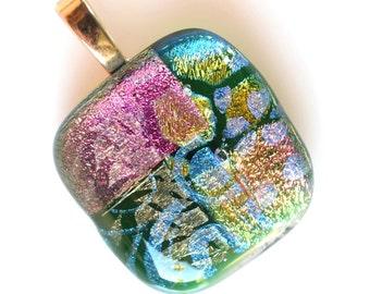 Salmon Blue Green Pendant - Dichroic Glass Pendant - Fused Glass Pendant - Melted Glass Pendant