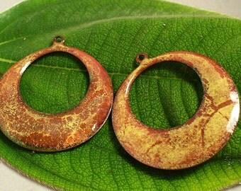 Enameled Copper/ Earring Pair /  Golden Spice/Enameled Component/hoop earring pair/copper components/