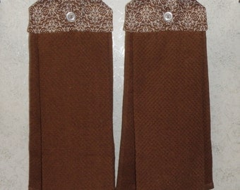 SET OF 2 - Hanging Cloth Top Kitchen Hand Towels - Brown Damask Print, Larger BROWN Towels
