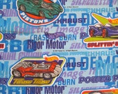 vintage Hot Wheels sheet -- full flat, cotton blend, 1990s -- toy cars, masculine, boy, blue, vroom -- bedding or craft supply fabric