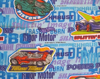 vintage Hot Wheels sheet -- full flat, cotton blend, 1990s -- toy cars, boy, man, blue, vroom -- bedding or craft supply fabric