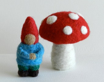 Tiny Needle-Felted Gnome and a Mushroom, A Little Traveling Gnome, Waldorf Gnome -- Handwork Studio
