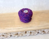 Silk Basket with Crystal Flower Embellished Lid - Handmade Purple Jewelry Trinket Box- Unique Shelf Decor Gift for Her - Hostess Gift STB049