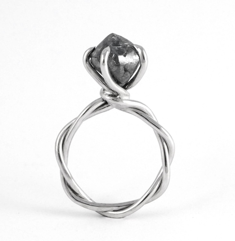 Rough Diamond Ring  Unique Alternative Grey Daimond Engagement Ring,  Non Traditional Raw Diamond Twist