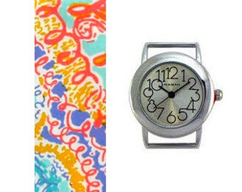 Lilly Pulitzer Written in the Sun Fabric Wrist Band with or without Silver Watch Face