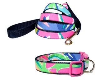 2016 EXOTIC GARDEN Dog Collar and Leash Set Made from Lilly Pulitzer Fabric on Navy Size: Your Choice