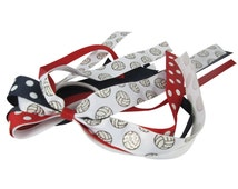 Volleyball Glitter Bow - Red Polka/ Navy White or choose Ribbons - Ponytail Streamer Holder, any sport or team for girls, school