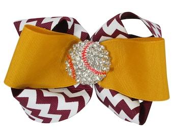 Chevron Baseball Hair Bow with Rhinestone bling - Maroon and Gold/ choose colors - ponytail bow clip- softball, soccer