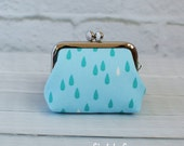 Small Frame Coin Purse Modern Raindrop Light Blue Rosary Case Earbud Case Earbud Holder Clasp Change Purse