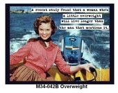 """M34-042B Funny 3"""" x 4"""" Fridge Magnet - Retro Lady driving Motor Boat... An Overweight woman will live longer than the man that mentions it."""