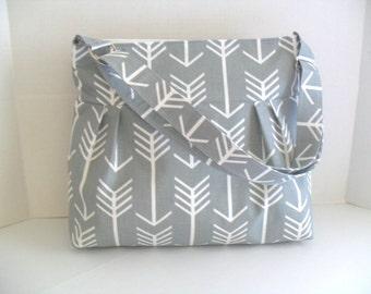 Arrow Diaper Bag - Diaper Bag - Gray Arrow - Messenger Bag - Crossbody