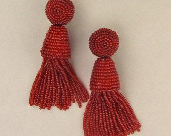 Valentines, Tassel Earrings, red tassels, beaded tassels, red beaded earrings, large tassels, tassel earring bead
