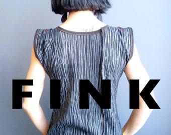 E.S.P. - iheartfink Handmade Hand Printed Womens Black Metallic Verical Stripes Wearable Art Print Jersey Top