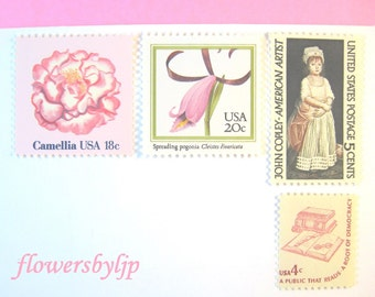 Pink Postage Stamps Unused Vintage, Little Girl Stamp, Pink Flower Stamp, Mail 10 Cards or Child Party Invites, 47 cents pink floral postage