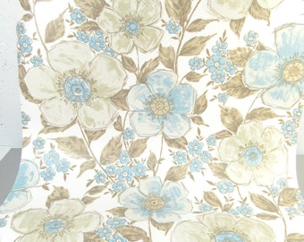 Vintage wallpaper roll, solid vinyl wallpaper, floral print, flowers, blue and white, 1960s 70s retro wallpaper