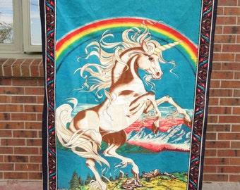 Vintage Unicorn tapestry, unicorn and rainbow wall hanging, unicorn home decor, 1980s