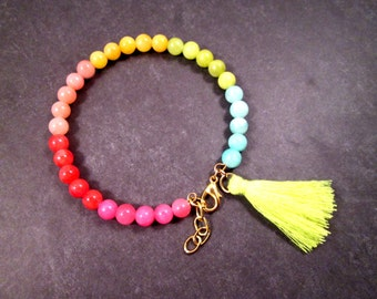 Tassel Bracelet, Gold Charm Bracelet, Colorful Candy Jade, Gemstone Beaded Bracelet, FREE Shipping U.S.