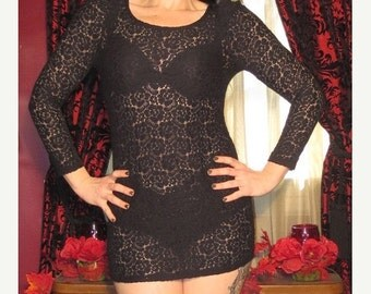 ON SALE Fetish Gothic Black Lace See Through Blouse Mini Dress XS Small