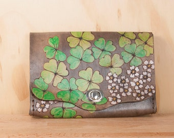 Small Leather Wristlet Purse - Box Clutch in the Lucky Pattern with Shamrocks and Flowers - Clutch, Wristlet, Crossbody or Waist Bag