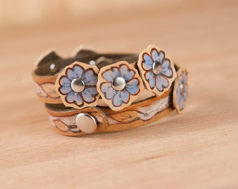 Leather Wrap Bracelet for Women - Double wrap skinny cuff with flowers and leaves in the Winter pattern