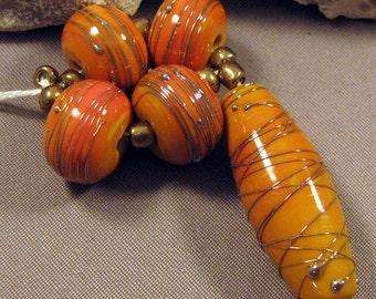Handmade Lampwork Bead Set by Monaslampwork - Pumpkin Glam - Handmade Lampwork by Mona Sullivan Boho Organic Tribal Gypsy Fall Autumn