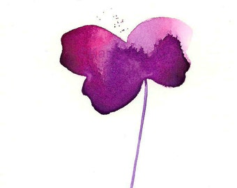 """Watercolor flower art print of simple violet flower: """"If I Could Fly"""""""