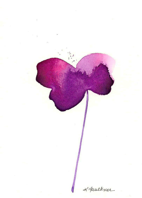 "Watercolor flower art print of simple violet flower: ""If I Could Fly"""