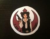 Individual Die Cut Rebel Girl sticker (Item 01-343)