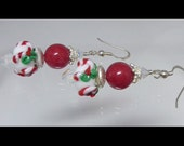 reserved for Vicky B !! Sterling Silver RED Christmas Santa Lampwork Earrings to match bracelet