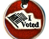 I Voted Ceramic Necklace in Red