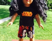18 inch doll clothes fun STAR WARS THEME shorts and cordinating shirt for your favorite doll.