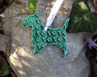 Scotty Ornament In Green