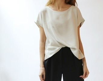 Silk Charmeuse cropped T-shirt blouse in pale sage green