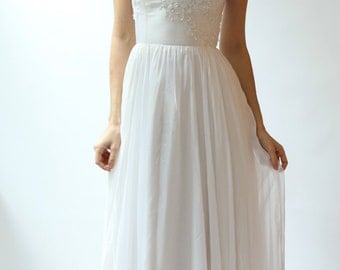 Sample SALE  white fine silk chiffon and beaded lace Wedding Gown