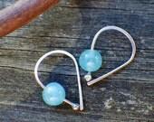 Apatite sterling silver open hoop earrings