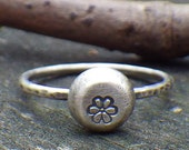 Daisy stamped sterling silver ring
