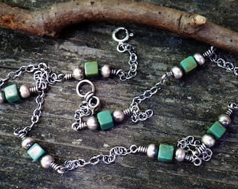 Nevada turquoise cube sterling silver necklace