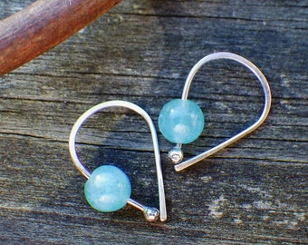 Apatite Open Hoop Earrings … minimalist sterling silver earrings petite bright blue apatiter hoops