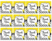 Printable Bee Baby Shower Thank You Tags - Instant Download